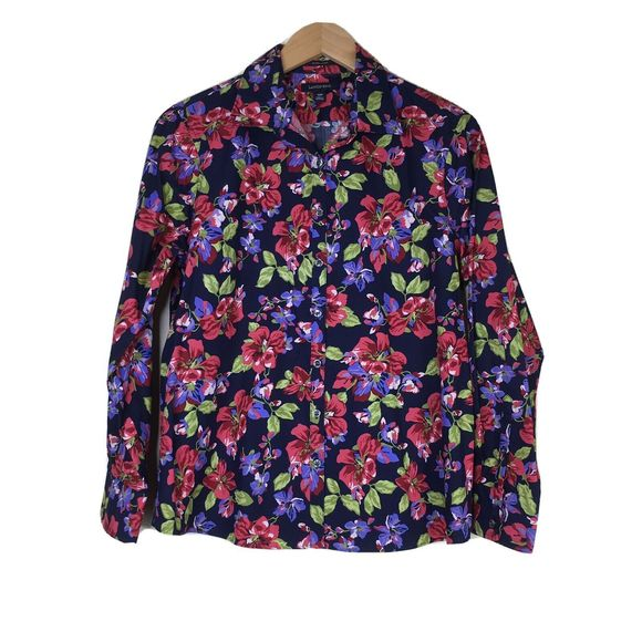 Lands' End 12 Petite 12P Floral Button Down Blouse